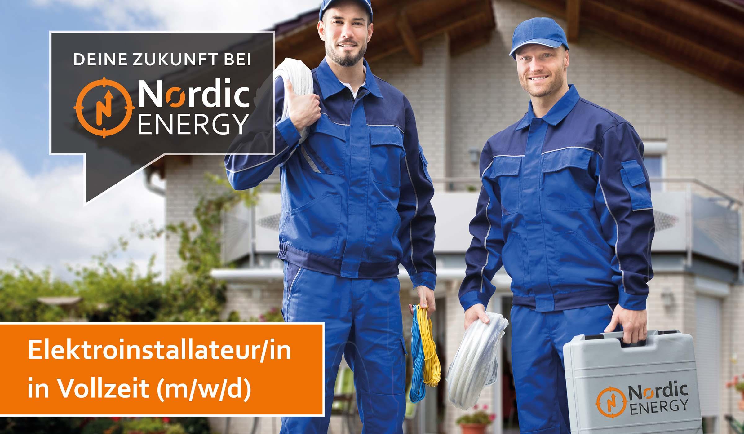 Die Elektroinstallateure von Nordic Energy mit einem Werkzeugkoffer und Kabel in der Hand vor einem Wohnhaus